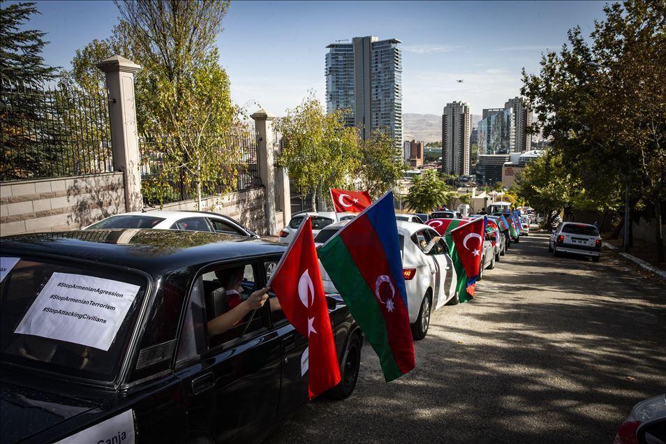 Ankaradan Azərbaycan ordusuna dəstək- Avtoyürüş keçirildi - VİDEO