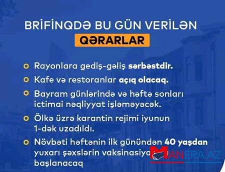 Karantin rejimi uzadıldı - RƏSMİ